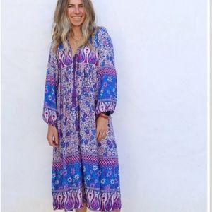 R Vivimos Boho Prairie Longsleeve Purple Dress,  M